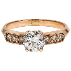 GIA Certified 1.08 Carat Old European Cut Round Diamond Ring in Rose Gold