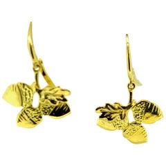Acorn and Oak Leaf Gold Earrings