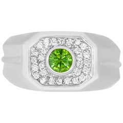 0.47 Carat Round Green Diamond and 0.32 Carat White Diamond Men's Ring