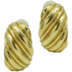 David Webb Yellow Gold Earrings