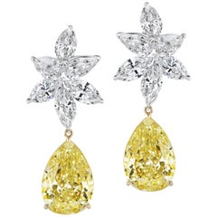 Scarselli Rare Matched 7 Carat Each Fancy Intense Yellow Pear Earring Drops, GIA