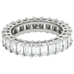 3.93 Carat Emerald Cut Diamond Eternity Wedding Band