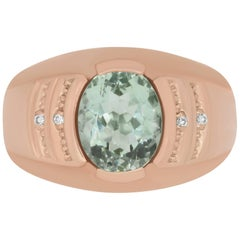 2.76 Carat Oval Green Amethyst and 0.02 Carat White Diamond Men's Ring