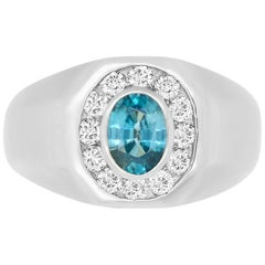 1.24 Carat Oval Blue Zircon and 0.50 Carat White Diamond Men's Ring