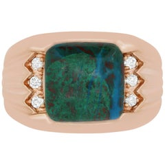 7.40 Carat Opal and 0.17 Carat White Diamond Men's Ring