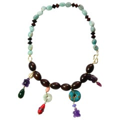 Ebony Amazonite Amethyst Gold Pendant Necklace