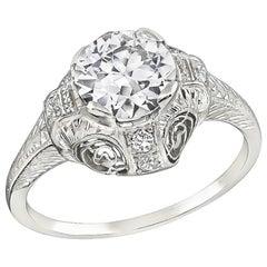 Art Deco GIA Certified 1.18 Carat Diamond Engagement Ring