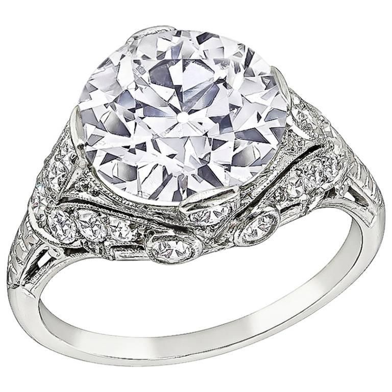 Vintage 3.59 Carat Diamond Platinum Engagement Ring