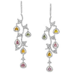Cellini Jewelers Fancy Color, Pink Yellow and White Diamond Leaf Drop Earrings