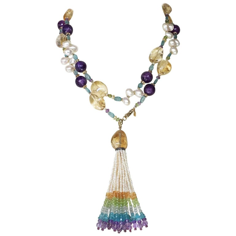 Multi-Color Stone Lariat with Pearls, Tassel and 14 Karat Gold Clasp by Marina J