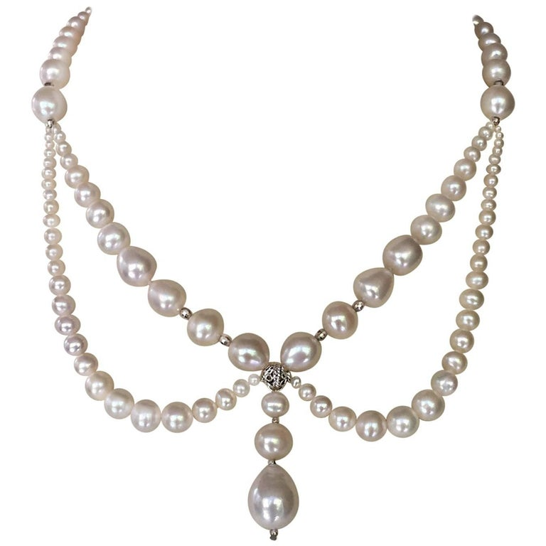Graduated Pearl Necklace Silver Rhodium Plated Beads and Clasp by Marina J