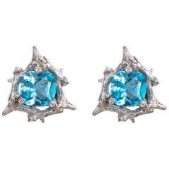 Blue Topaz Diamond 18 Carat White Gold Clip-On Earrings