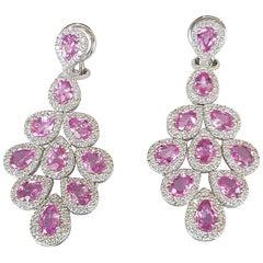 Pink Sapphire 7.56 Carat and Diamond Dangle Earrings in 18 Karat White Gold