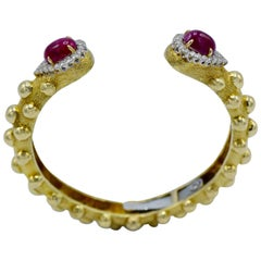 David Webb Cabochon Burma Ruby Diamond Bracelet