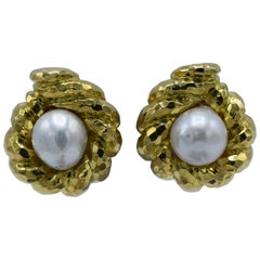 David Webb, Baroque South Sea Pearl Gold Clip-On Earrings