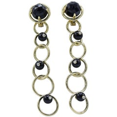 Aletto Brothers Three Black Onyx Bead Gold Removable Earrings