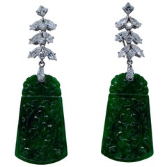 2.30 Carat Day and Night Platinum Diamond Jade Earrings