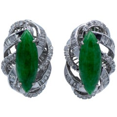 1.80 Carat Marque Shaped Jade Diamond Clip-On Earrings