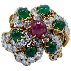 Cartier French Ruby Emerald Diamond Ring 9.5 Carat