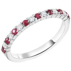 Round Diamond Alternating Round Ruby Gold Partial Prong Set Band