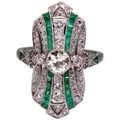 Estate 1.28 Carat Diamond and Emerald Ring