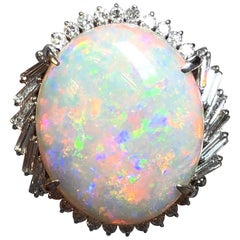 Multi-Color Opal Cabochon and White Diamond Cocktail Ring in Platinum