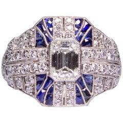 Modern Art Deco Style  1.61 Carat Diamond and Sapphire Ring