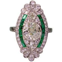 Modern Art Deco Style  2 Carat Diamond and Emerald Ring