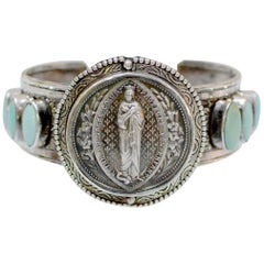 Jill Garber Antique French Sacred Heart Medal and Turquoise Cuff Bracelet
