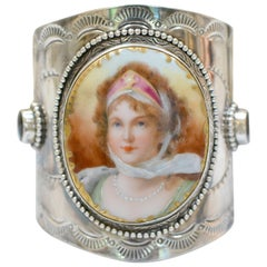Jill Garber Antique French Goddess Portrait with Garnets Sterling Cuff Bracelet