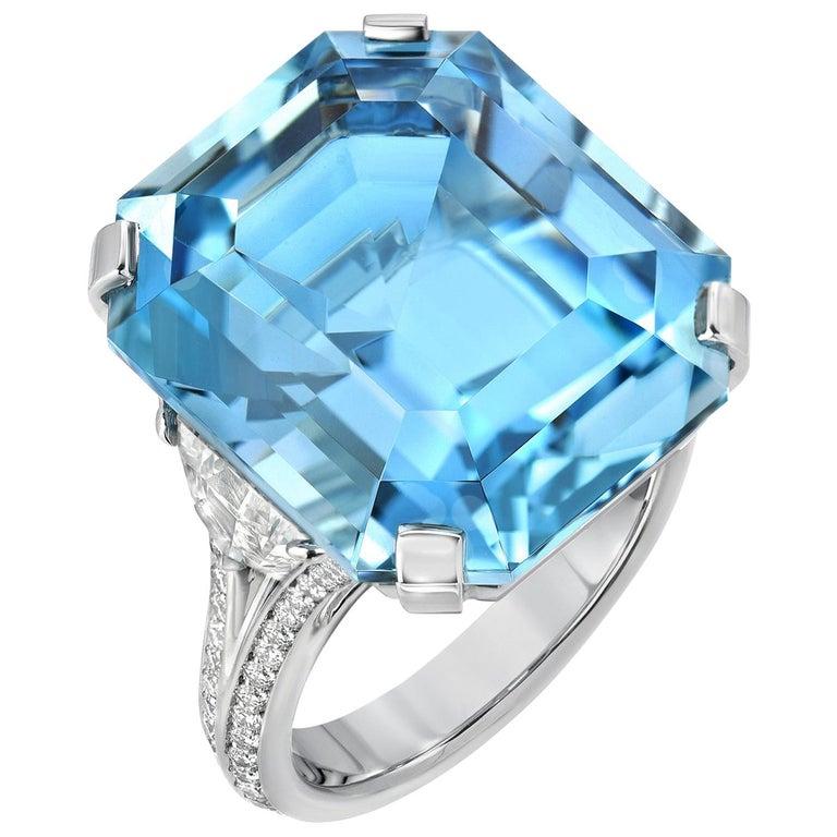 Aquamarine Emerald Cut Diamond Platinum Blue Ring 20.37 Carat For Sale