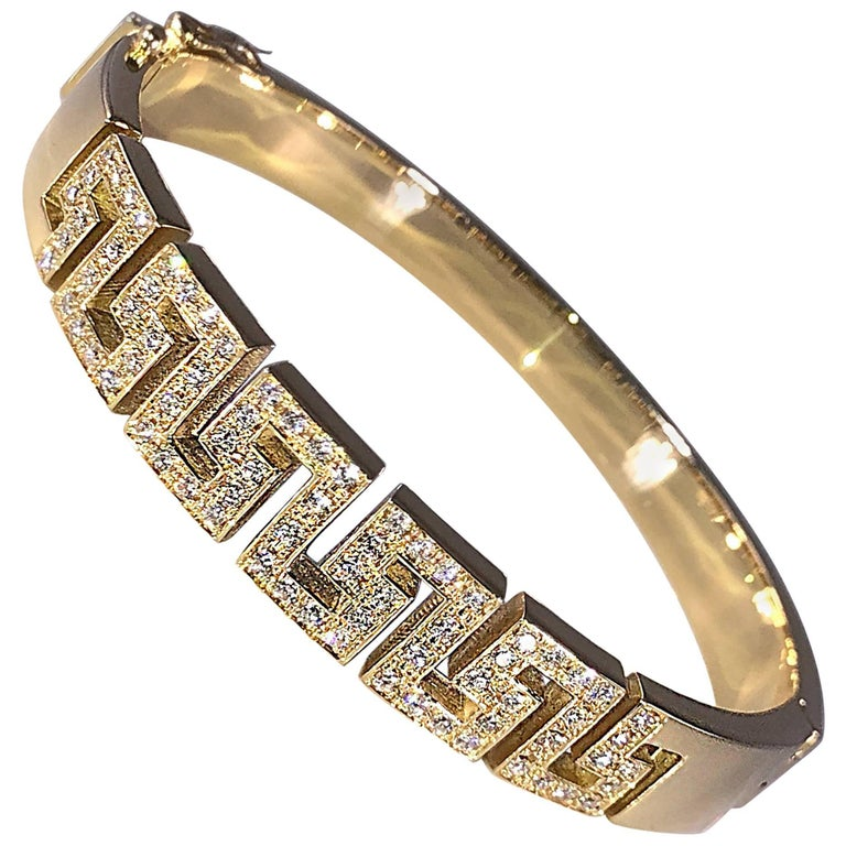 Georgios Collections 18 Karat Yellow Gold Diamond Bracelet the Greek Key Design  For Sale