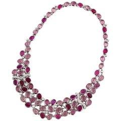 Antonini Tourmaline Diamond 18 Karat White Gold Necklace