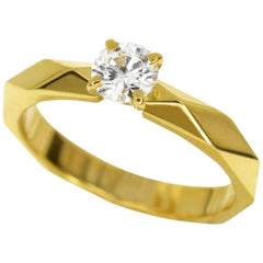 Boucheron 0.30 Carat Diamond 18 Karat Yellow Gold Facet Solitaire Ring