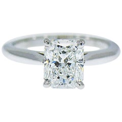 Cartier 1895 Solitaire Diamond Engagement Ring, 1.34 ct. G, VS1 Radiant Cut, GIA
