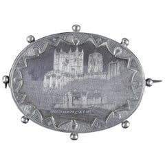 Antique Victorian Silver Brooch Durham Cathedral Dated, 1893