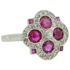 Art Deco Geometric Ruby Diamonds Platinum Ring