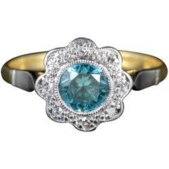 Antique Edwardian Blue Zircon Diamond Ring 18 Carat Plat, circa 1915