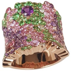 Diamond and Pink Sapphire and Tsavorite Ring in 18 Karat Rose Gold