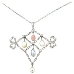 French Belle Époque Edwardian Natural Pearls Rose Cut Diamonds Garland Necklace