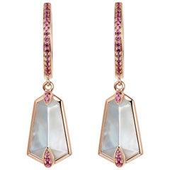 Fei Liu 18 Karat Rose Gold Kite Shape Medium Hoop Earrings with Pink Sapphire