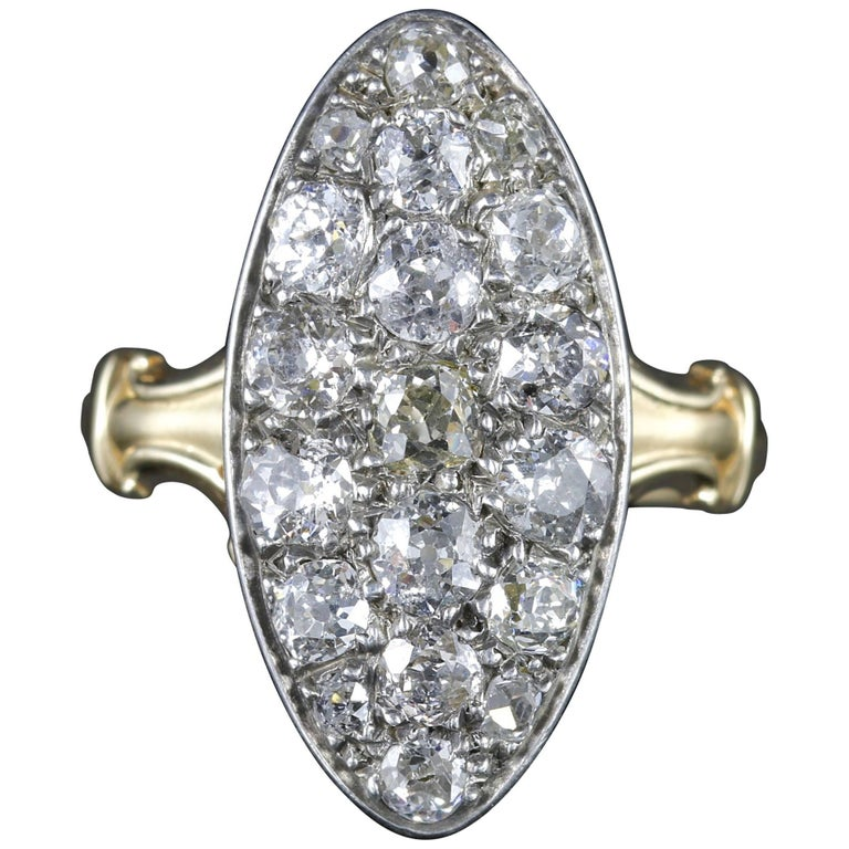 Antique Victorian Diamond Ring 18ct Gold Marquise 3ct Diamonds Circa 1880 For Sale