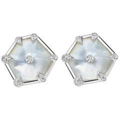 Fei Liu White Gold Hexagon Shape Stud Earrings with Diamonds, Mother of Pearls