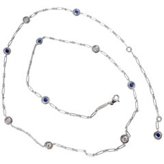 Gemstone White Diamond Blue Sapphire 18 Karat White Gold Necklace