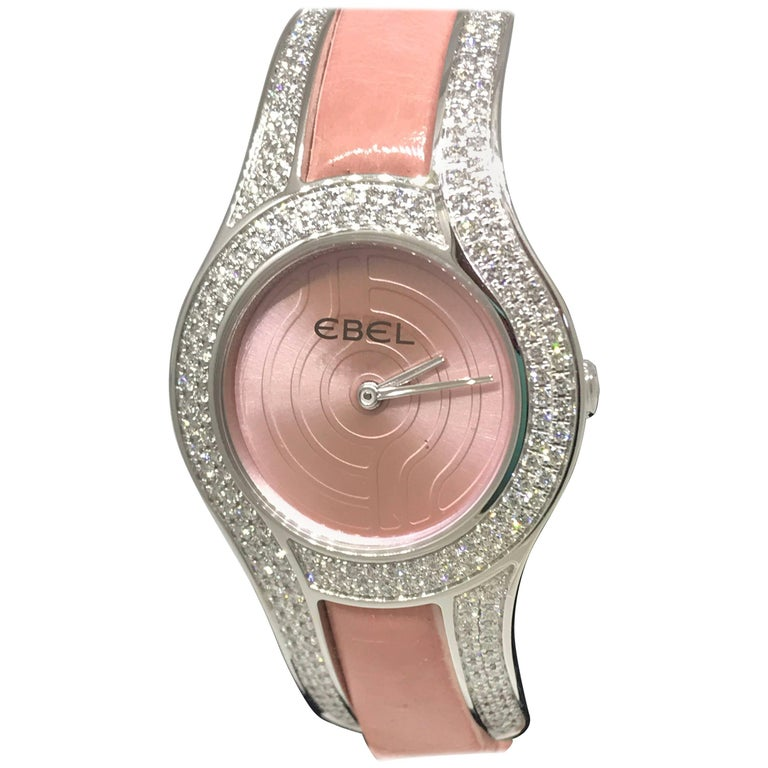 Ebel Midnight Moonchic White Gold Diamond Leather Band Ladies Watch 3157H29 New