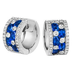 Tivon 18 Carat White Gold Round Diamond and Oval Blue Sapphire Hoop Earrings