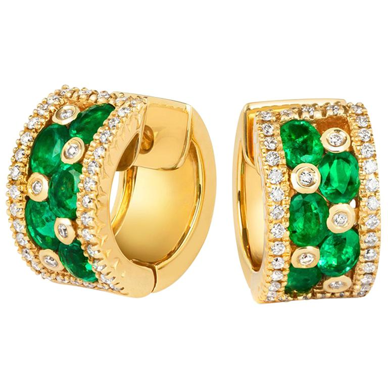 Tivon 18k Yellow Gold Round White Diamond And Oval Zambian Emerald Hoop Earrings For