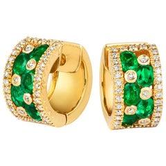 Tivon 18k Yellow Gold Round White Diamond and Oval Zambian Emerald Hoop Earrings