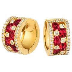 Tivon 18 Carat Yellow Gold Round White Diamond &Oval Burmese Ruby hoop Earrings