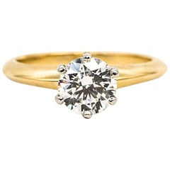 Tiffany & Co. Ring with .92 Carat Round Brilliant Centre 18 Karat Yellow